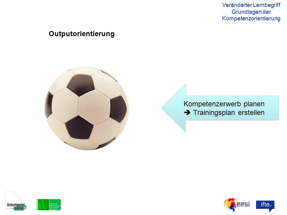 Outputorientierung Veränderter Lernbegriff Grundlagen der Kompetenzorientierung Kompetenzerwerb planen  Trainingsplan erstellen