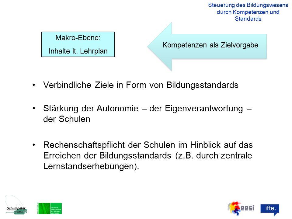 Verbindliche Ziele in Form von Bildungsstandards Stärkung der Autonomie – der Eigenverantwortung – der Schulen Rechenschaftspflicht der Schulen im Hinblick auf das Erreichen der Bildungsstandards (z.B.