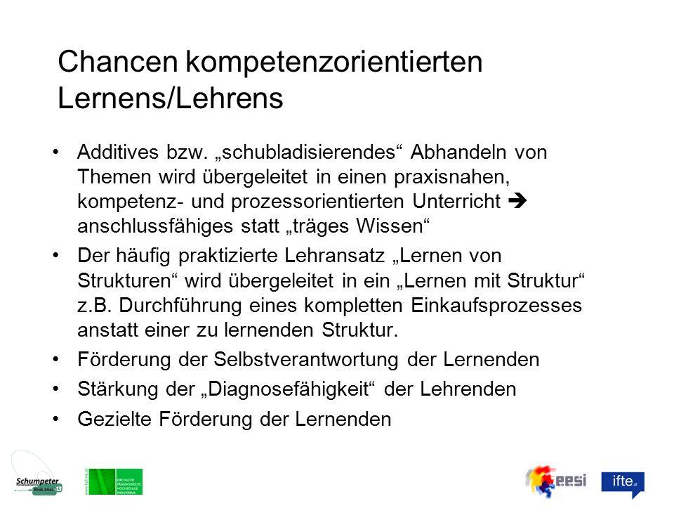 Chancen kompetenzorientierten Lernens/Lehrens Additives bzw.