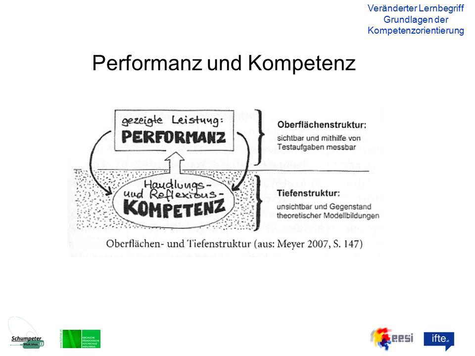 Performanz und Kompetenz Veränderter Lernbegriff Grundlagen der Kompetenzorientierung