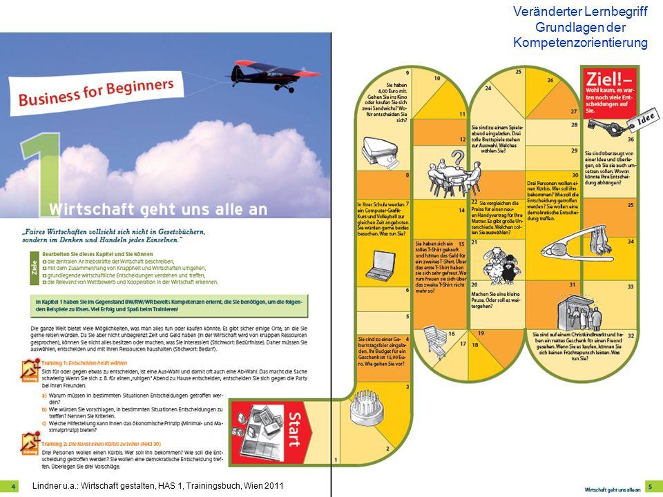 Veränderter Lernbegriff Grundlagen der Kompetenzorientierung Lindner u.a.: Wirtschaft gestalten, HAS 1, Trainingsbuch, Wien 2011