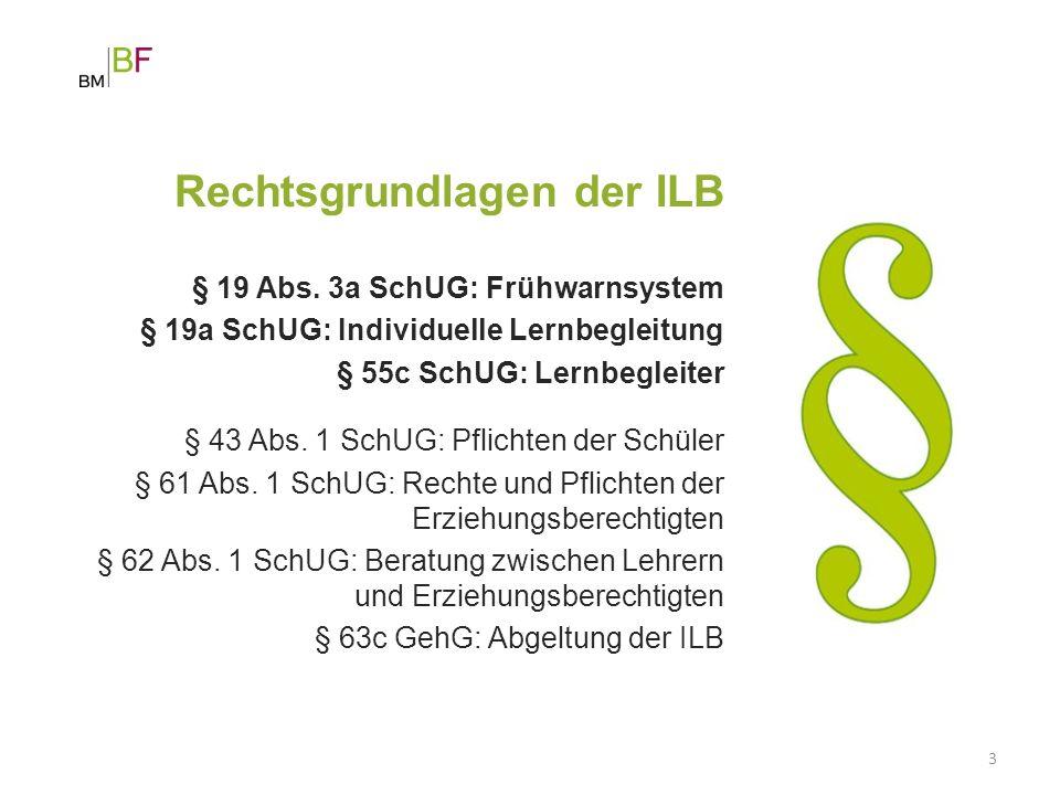 3 Rechtsgrundlagen der ILB § 19 Abs. 3a SchUG: Frühwarnsystem § 19a SchUG: Individuelle Lernbegleitung § 55c SchUG: Lernbegleiter § 43 Abs. 1 SchUG: P