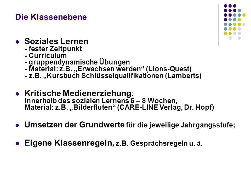 """Die Klassenebene Soziales Lernen - fester Zeitpunkt - Curriculum - gruppendynamische Übungen - Material: z.B. """"Erwachsen werden"""" (Lions-Quest) - z.B."""