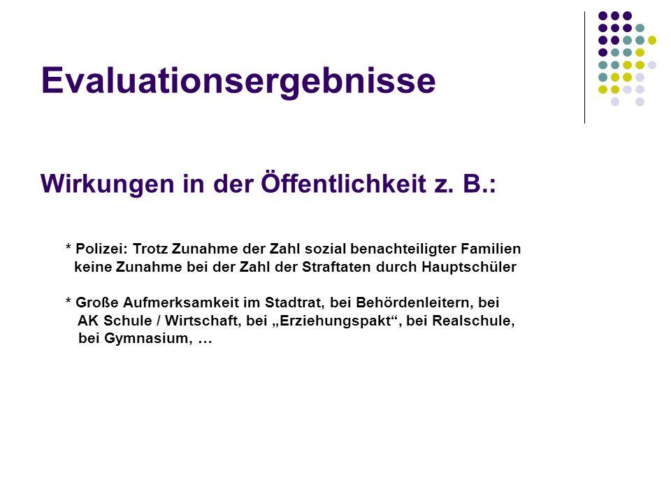 Evaluationsergebnisse Wirkungen in der Öffentlichkeit z. B.: * Polizei: Trotz Zunahme der Zahl sozial benachteiligter Familien keine Zunahme bei der Z