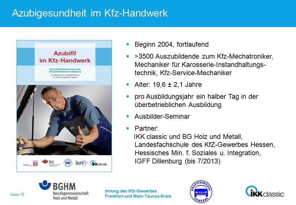 Seite 15 Azubigesundheit im Kfz-Handwerk Innung des Kfz-Gewerbes Frankfurt und Main-Taunus-Kreis  Beginn 2004, fortlaufend  >3500 Auszubildende zum