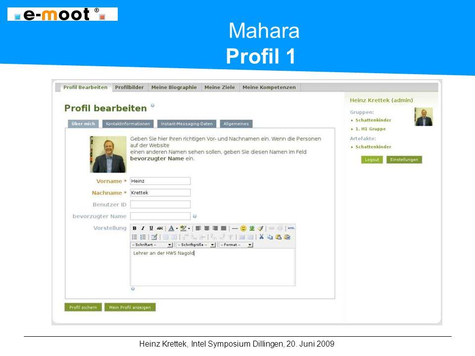 Heinz Krettek, Intel Symposium Dillingen, 20. Juni 2009 Mahara Profil 1