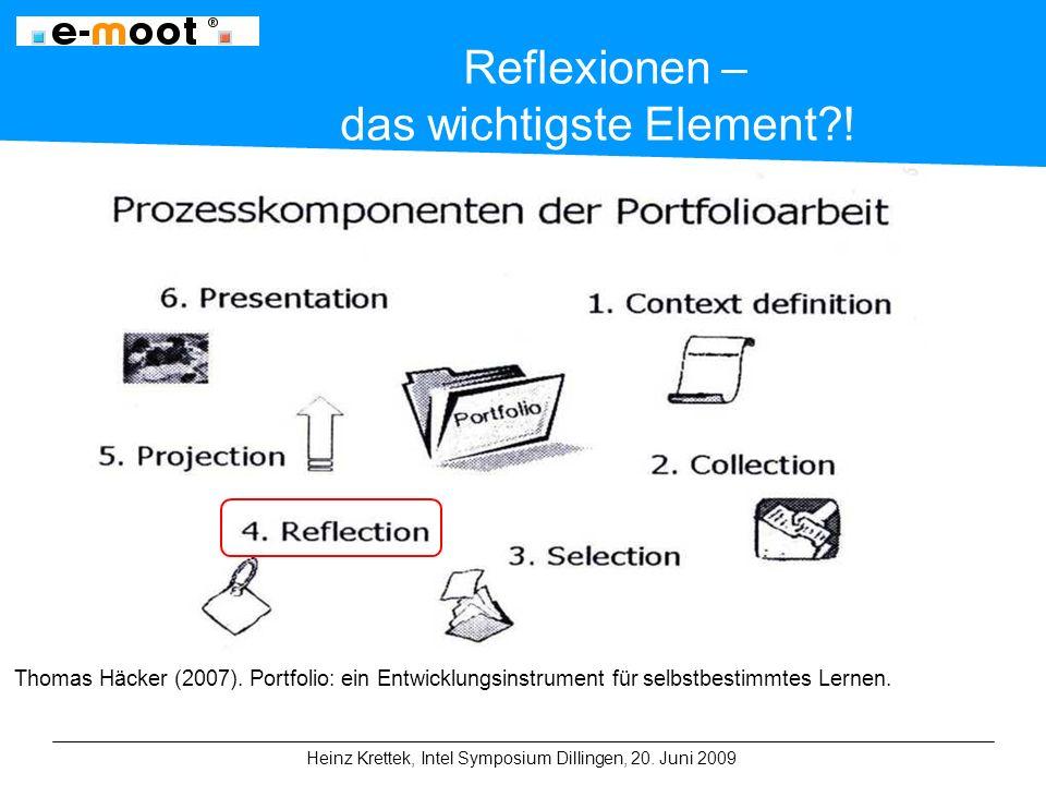 Heinz Krettek, Intel Symposium Dillingen, 20. Juni 2009 Reflexionen – das wichtigste Element .