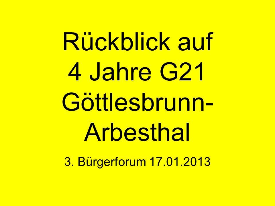 Rückblick auf 4 Jahre G21 Göttlesbrunn- Arbesthal 3. Bürgerforum 17.01.2013