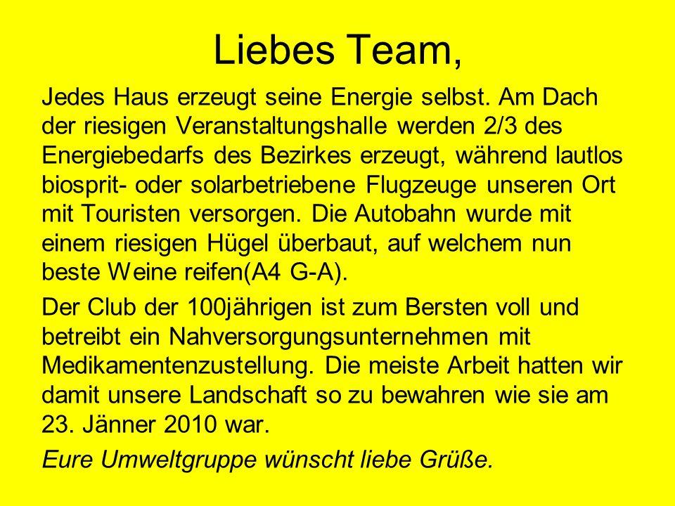 Liebes Team, Jedes Haus erzeugt seine Energie selbst.