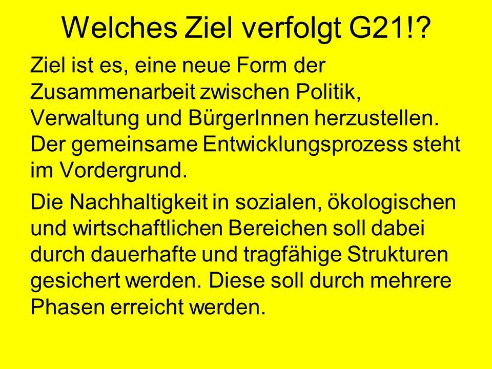 G21 bietet die Chance auf mehr Lebensqualität durch: Eigenverantwortung der Bürger/Innen Orientierung und Sinn gute Schnittstellen zu anderen Programmpartnern/Vereinen...