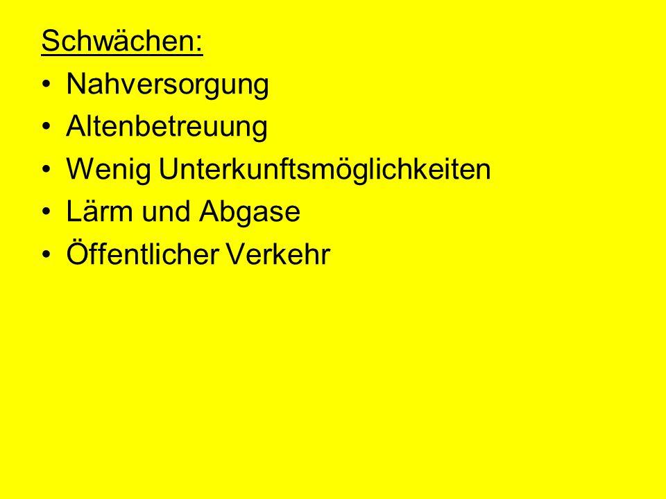 Chancen: Gemeinsame Aktivitäten Göttlesbrunn- Arbesthal Generationendorf Strategisch gute Lage (Wien, Bratislava, Budapest) Landesausstellung 2011 Alternative Energien Attraktive Wohngemeinde mit schönem Ortsbild Gute Infrastruktur Kinder, Jugend und Familien