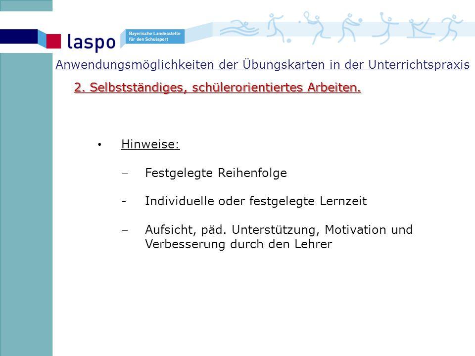 Anwendungsmöglichkeiten der Übungskarten in der Unterrichtspraxis 2.