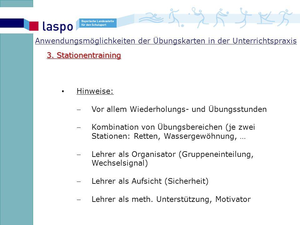 Anwendungsmöglichkeiten der Übungskarten in der Unterrichtspraxis 3.