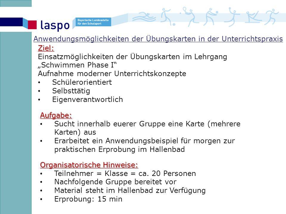 Anwendungsmöglichkeiten der Übungskarten in der Unterrichtspraxis Organisatorische Hinweise: Teilnehmer = Klasse = ca.