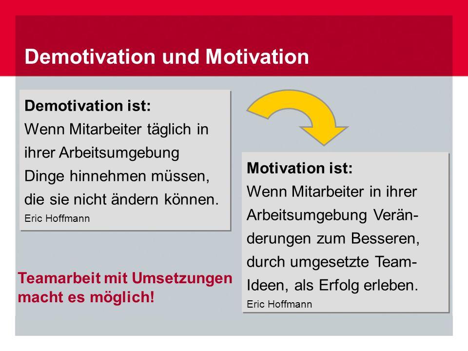 Demotivation ist: Wenn Mitarbeiter täglich in ihrer Arbeitsumgebung Dinge hinnehmen müssen, die sie nicht ändern können. Eric Hoffmann Demotivation is