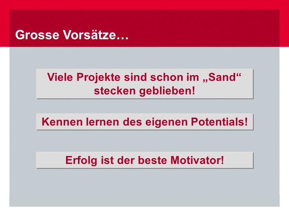 Grosse Vorsätze… Erfolg ist der beste Motivator.