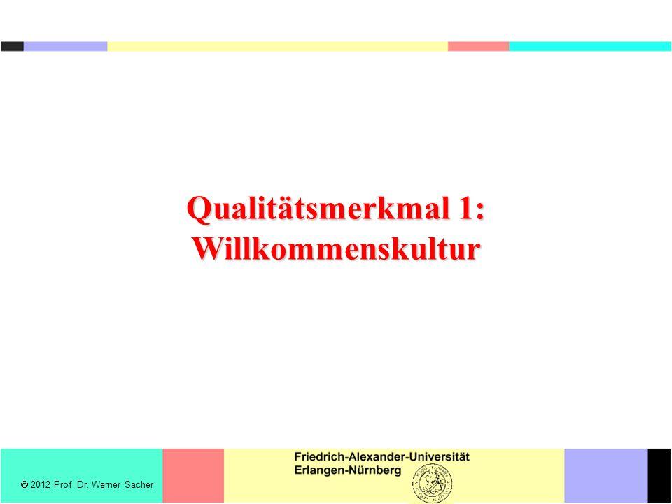  2012 Prof. Dr. Werner Sacher Qualitätsmerkmal 1: Willkommenskultur