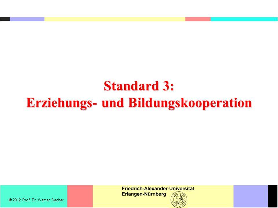  2012 Prof. Dr. Werner Sacher Standard 3: Erziehungs- und Bildungskooperation