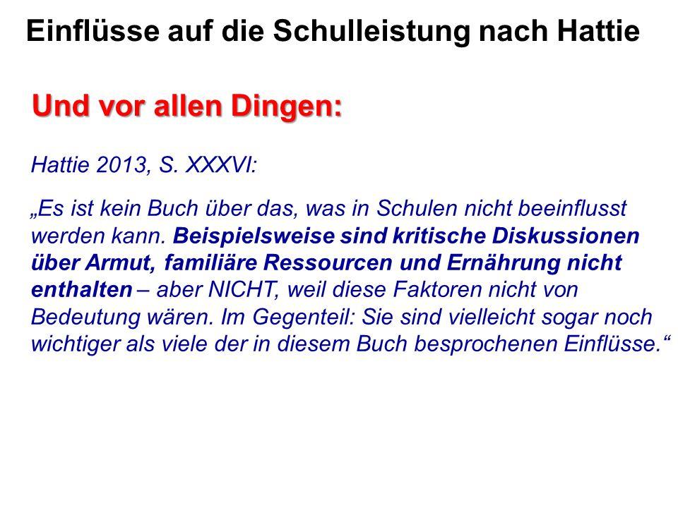 Einflüsse auf die Schulleistung nach Hattie Und vor allen Dingen: Hattie 2013, S.