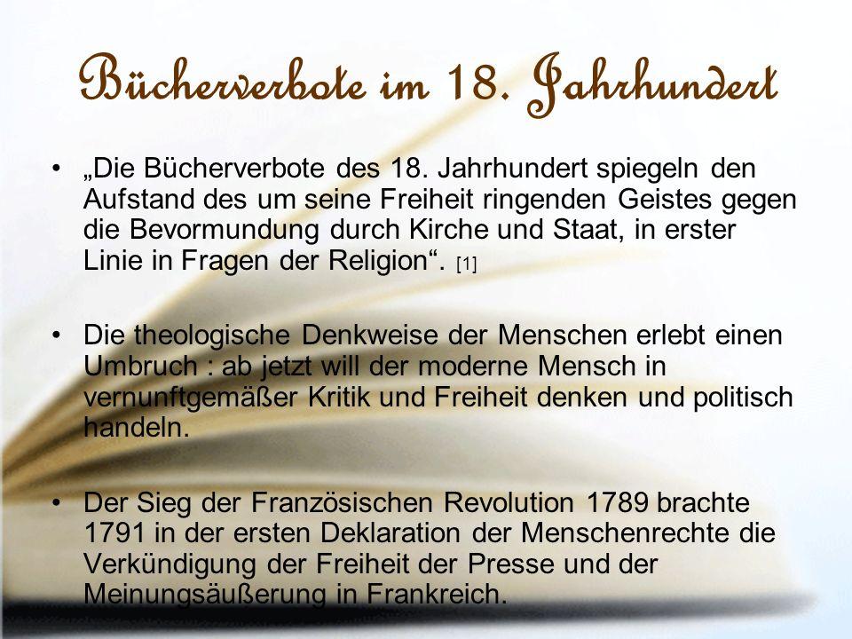 """Bücherverbote im 18. Jahrhundert """"Die Bücherverbote des 18."""