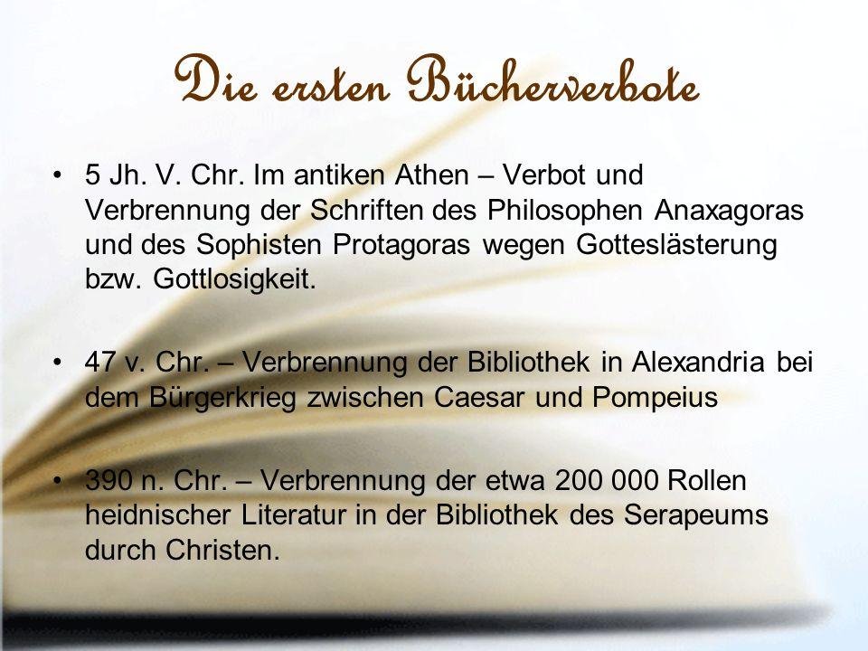 Die ersten Bücherverbote 5 Jh. V. Chr.