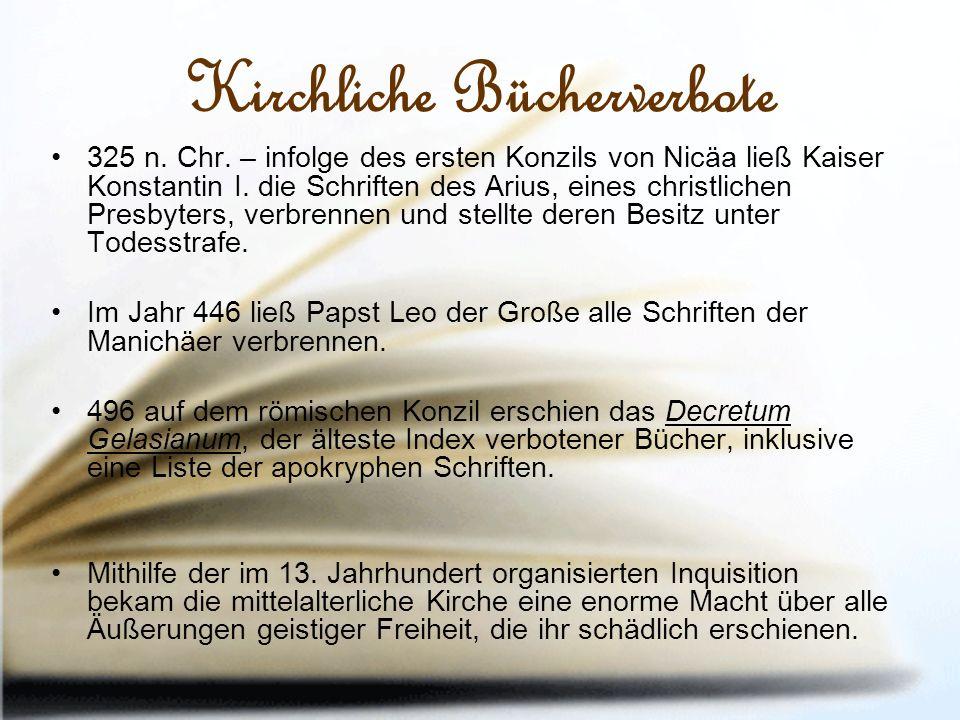 Kirchliche Bücherverbote 325 n. Chr.