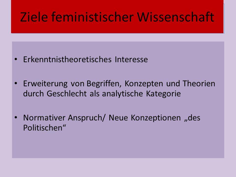 """Vernetzung Erkenntnistheoretisches Interesse Erweiterung von Begriffen, Konzepten und Theorien durch Geschlecht als analytische Kategorie Normativer Anspruch/ Neue Konzeptionen """"des Politischen Ziele feministischer Wissenschaft"""