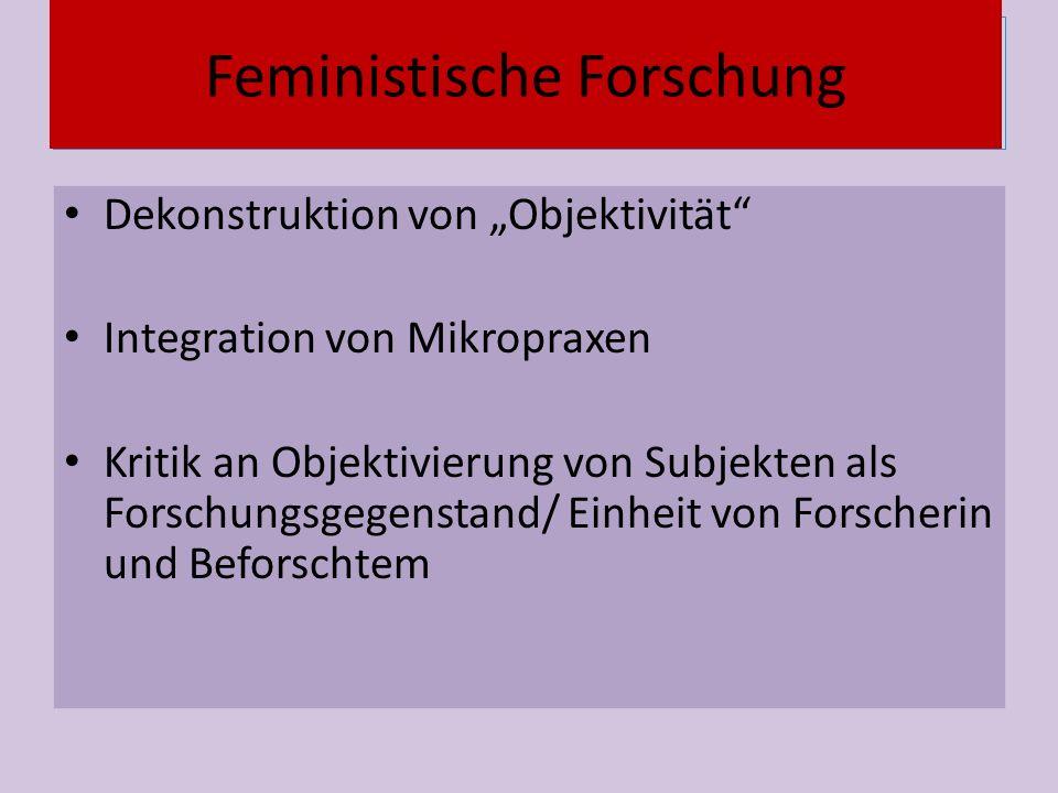 """Vernetzung Dekonstruktion von """"Objektivität Integration von Mikropraxen Kritik an Objektivierung von Subjekten als Forschungsgegenstand/ Einheit von Forscherin und Beforschtem Feministische Forschung"""