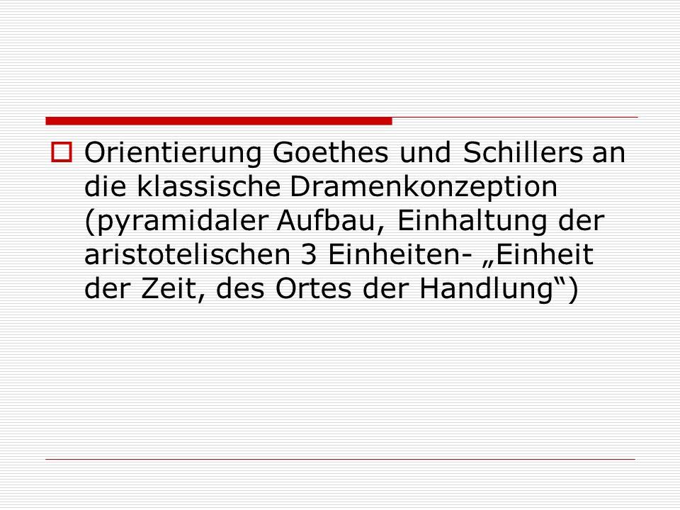 """ Orientierung Goethes und Schillers an die klassische Dramenkonzeption (pyramidaler Aufbau, Einhaltung der aristotelischen 3 Einheiten- """"Einheit der Zeit, des Ortes der Handlung )"""