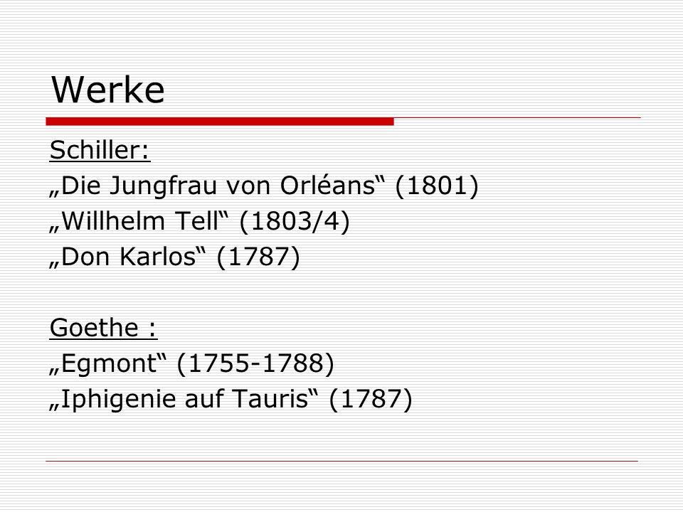 """Werke Schiller: """"Die Jungfrau von Orléans (1801) """"Willhelm Tell (1803/4) """"Don Karlos (1787) Goethe : """"Egmont (1755-1788) """"Iphigenie auf Tauris (1787)"""