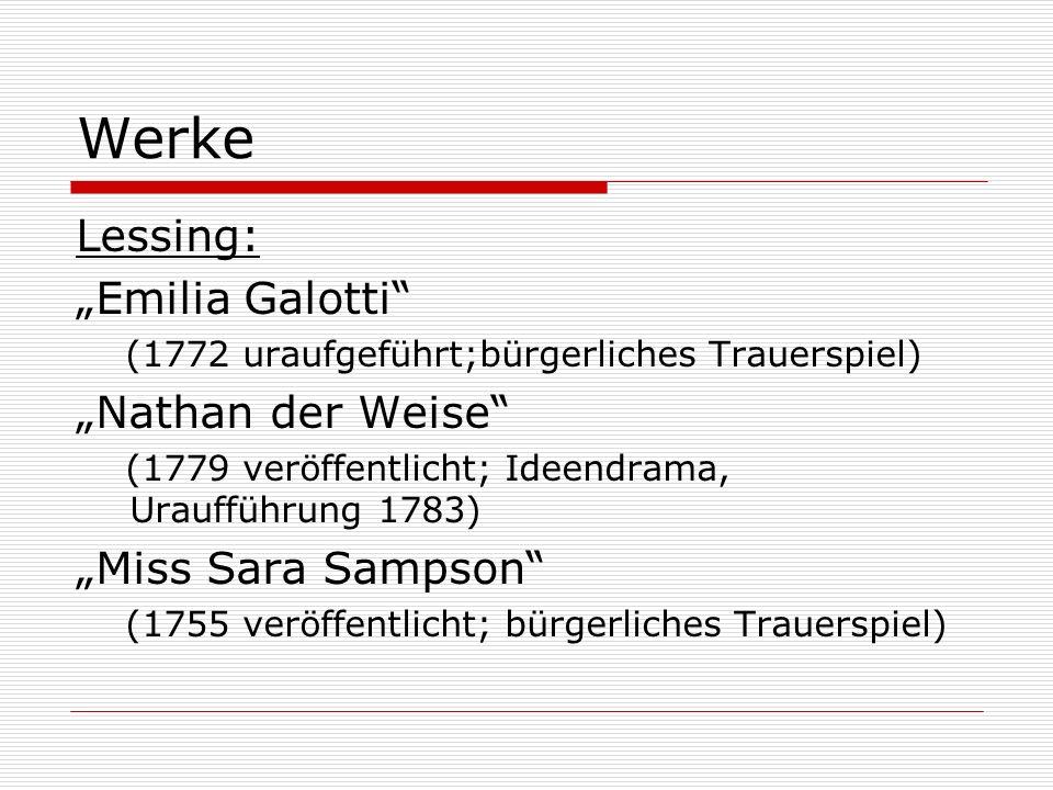 """Werke Lessing: """"Emilia Galotti (1772 uraufgeführt;bürgerliches Trauerspiel) """"Nathan der Weise (1779 veröffentlicht; Ideendrama, Uraufführung 1783) """"Miss Sara Sampson (1755 veröffentlicht; bürgerliches Trauerspiel)"""