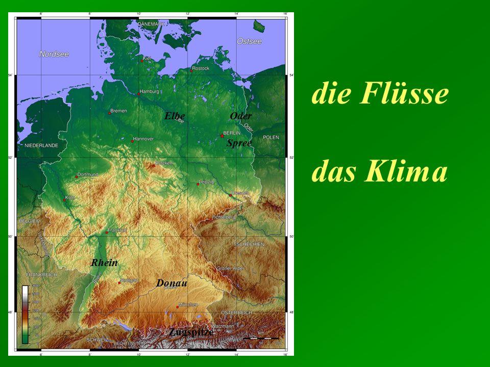 Zugspitze die Flüsse das Klima Rhein Elbe Donau Oder Spree
