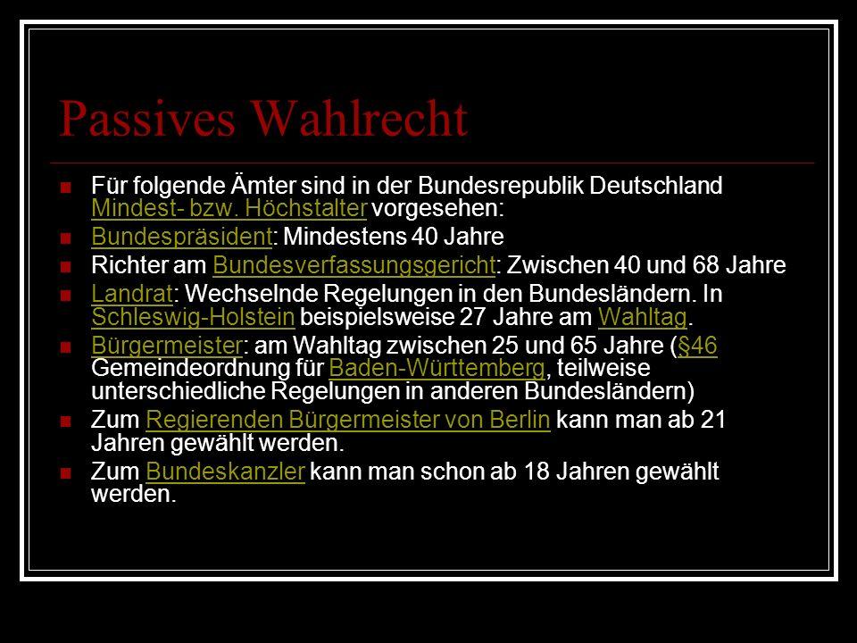 Passives Wahlrecht Für folgende Ämter sind in der Bundesrepublik Deutschland Mindest- bzw. Höchstalter vorgesehen: Mindest- bzw. Höchstalter Bundesprä