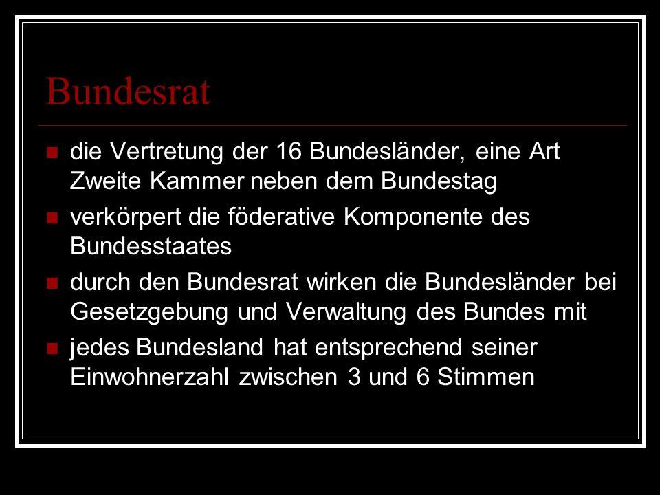 Bundesrat die Vertretung der 16 Bundesländer, eine Art Zweite Kammer neben dem Bundestag verkörpert die föderative Komponente des Bundesstaates durch den Bundesrat wirken die Bundesländer bei Gesetzgebung und Verwaltung des Bundes mit jedes Bundesland hat entsprechend seiner Einwohnerzahl zwischen 3 und 6 Stimmen