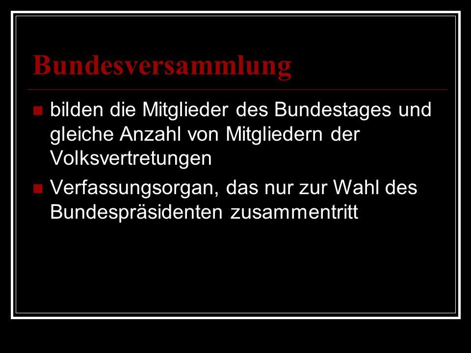 Bundesversammlung bilden die Mitglieder des Bundestages und gleiche Anzahl von Mitgliedern der Volksvertretungen Verfassungsorgan, das nur zur Wahl de