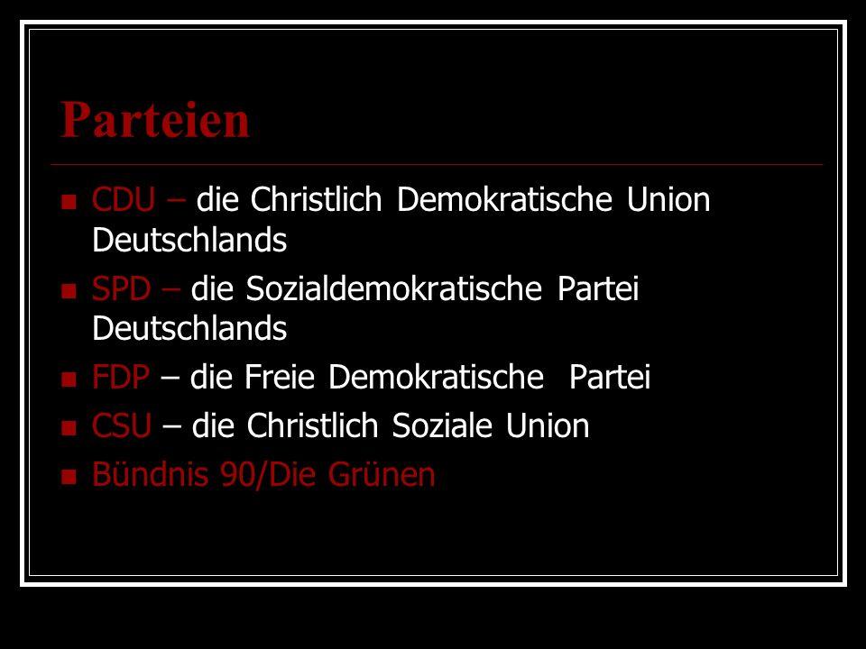 Parteien CDU – die Christlich Demokratische Union Deutschlands SPD – die Sozialdemokratische Partei Deutschlands FDP – die Freie Demokratische Partei CSU – die Christlich Soziale Union Bündnis 90/Die Grünen
