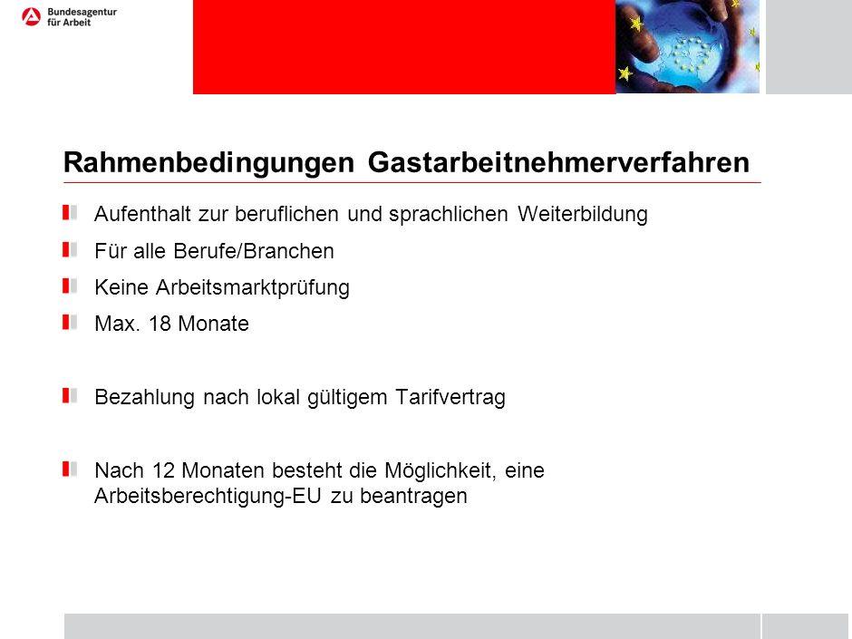 Rahmenbedingungen Gastarbeitnehmerverfahren Aufenthalt zur beruflichen und sprachlichen Weiterbildung Für alle Berufe/Branchen Keine Arbeitsmarktprüfu