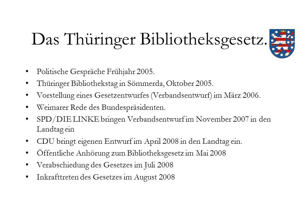Das Thüringer Bibliotheksgesetz. Politische Gespräche Frühjahr 2005.