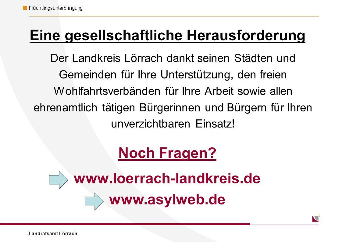 Landratsamt Lörrach Flüchtlingsunterbringung Der Landkreis Lörrach dankt seinen Städten und Gemeinden für Ihre Unterstützung, den freien Wohlfahrtsverbänden für Ihre Arbeit sowie allen ehrenamtlich tätigen Bürgerinnen und Bürgern für Ihren unverzichtbaren Einsatz.
