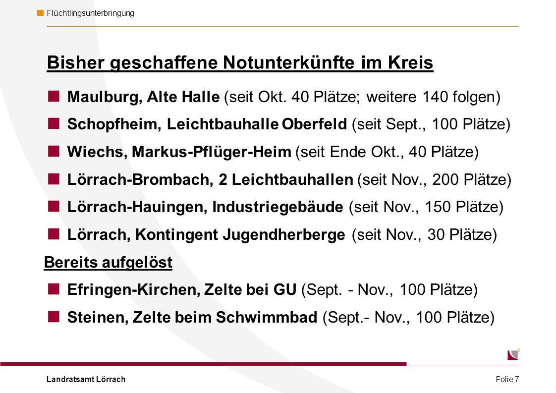 Landratsamt Lörrach Flüchtlingsunterbringung Bisher geschaffene Notunterkünfte im Kreis  Maulburg, Alte Halle (seit Okt.