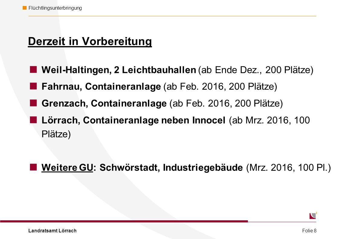 Landratsamt Lörrach Flüchtlingsunterbringung Derzeit in Vorbereitung  Weil-Haltingen, 2 Leichtbauhallen (ab Ende Dez., 200 Plätze)  Fahrnau, Containeranlage (ab Feb.