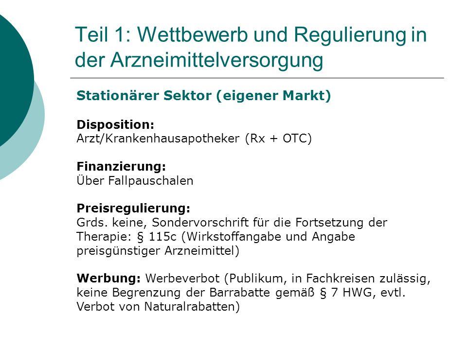 Stationärer Sektor (eigener Markt) Disposition: Arzt/Krankenhausapotheker (Rx + OTC) Finanzierung: Über Fallpauschalen Preisregulierung: Grds.