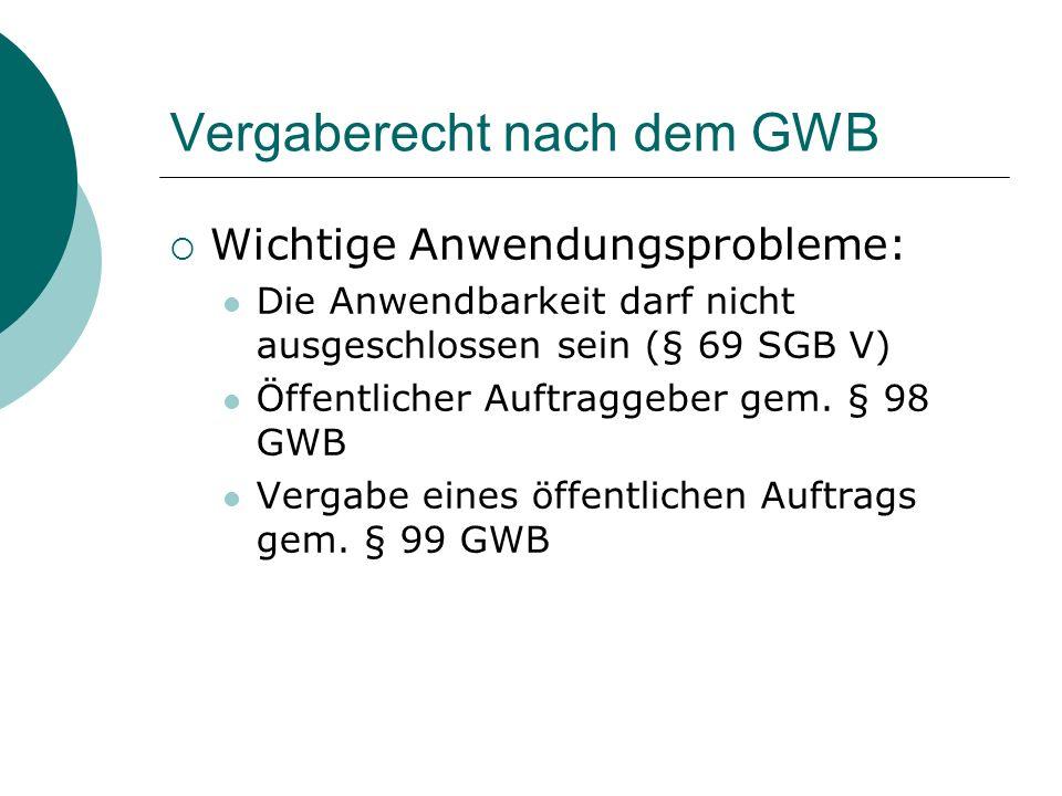 Vergaberecht nach dem GWB  Wichtige Anwendungsprobleme: Die Anwendbarkeit darf nicht ausgeschlossen sein (§ 69 SGB V) Öffentlicher Auftraggeber gem.