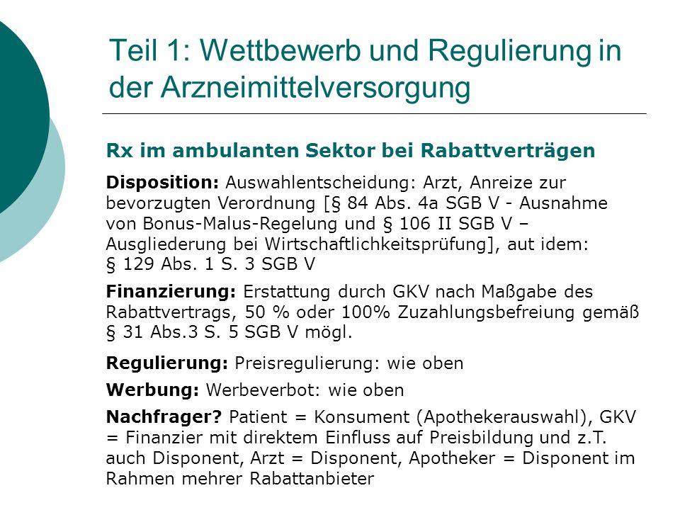 Rx im ambulanten Sektor bei Rabattverträgen Disposition: Auswahlentscheidung: Arzt, Anreize zur bevorzugten Verordnung [§ 84 Abs.
