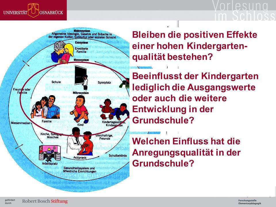 Bleiben die positiven Effekte einer hohen Kindergarten- qualität bestehen.