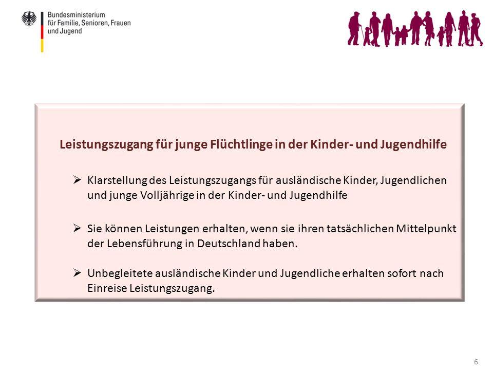 6 Leistungszugang für junge Flüchtlinge in der Kinder- und Jugendhilfe  Klarstellung des Leistungszugangs für ausländische Kinder, Jugendlichen und junge Volljährige in der Kinder- und Jugendhilfe  Sie können Leistungen erhalten, wenn sie ihren tatsächlichen Mittelpunkt der Lebensführung in Deutschland haben.