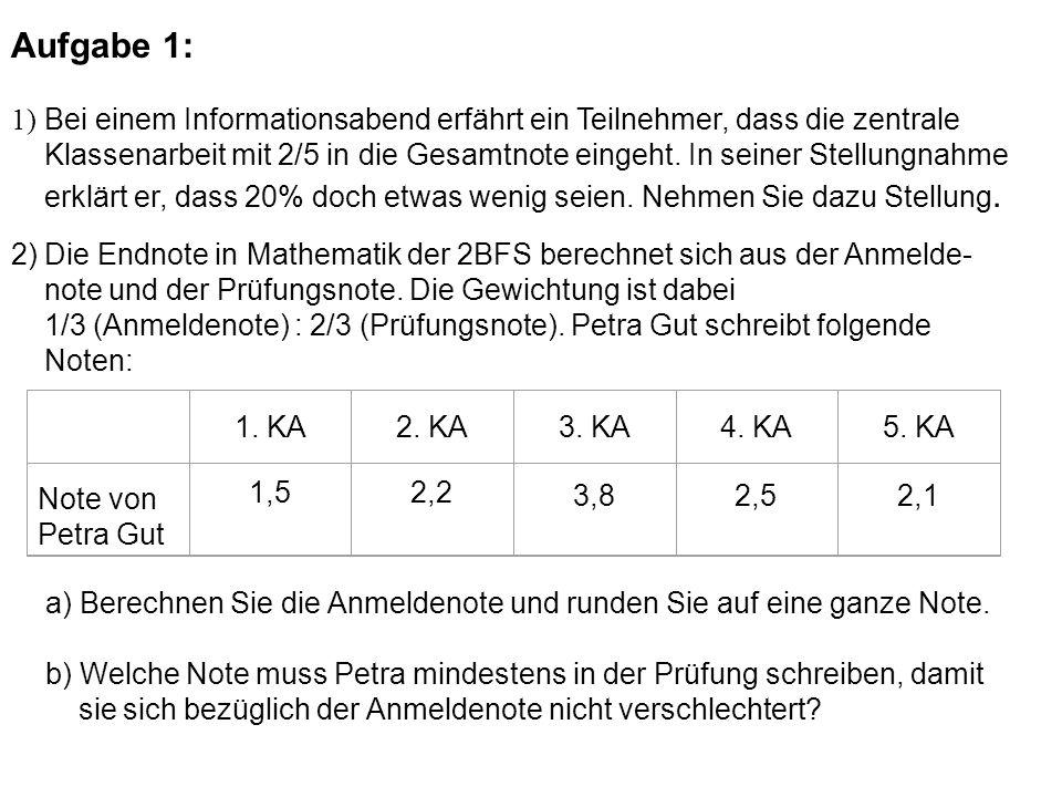 a) Berechnen Sie die Anmeldenote und runden Sie auf eine ganze Note. b) Welche Note muss Petra mindestens in der Prüfung schreiben, damit sie sich bez