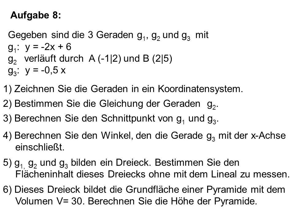 Aufgabe 8: Gegeben sind die 3 Geraden g 1, g 2 und g 3 mit g 1 : y = -2x + 6 g 2 verläuft durch A (-1|2) und B (2|5) g 3 : y = -0,5 x 1) Zeichnen Sie die Geraden in ein Koordinatensystem.