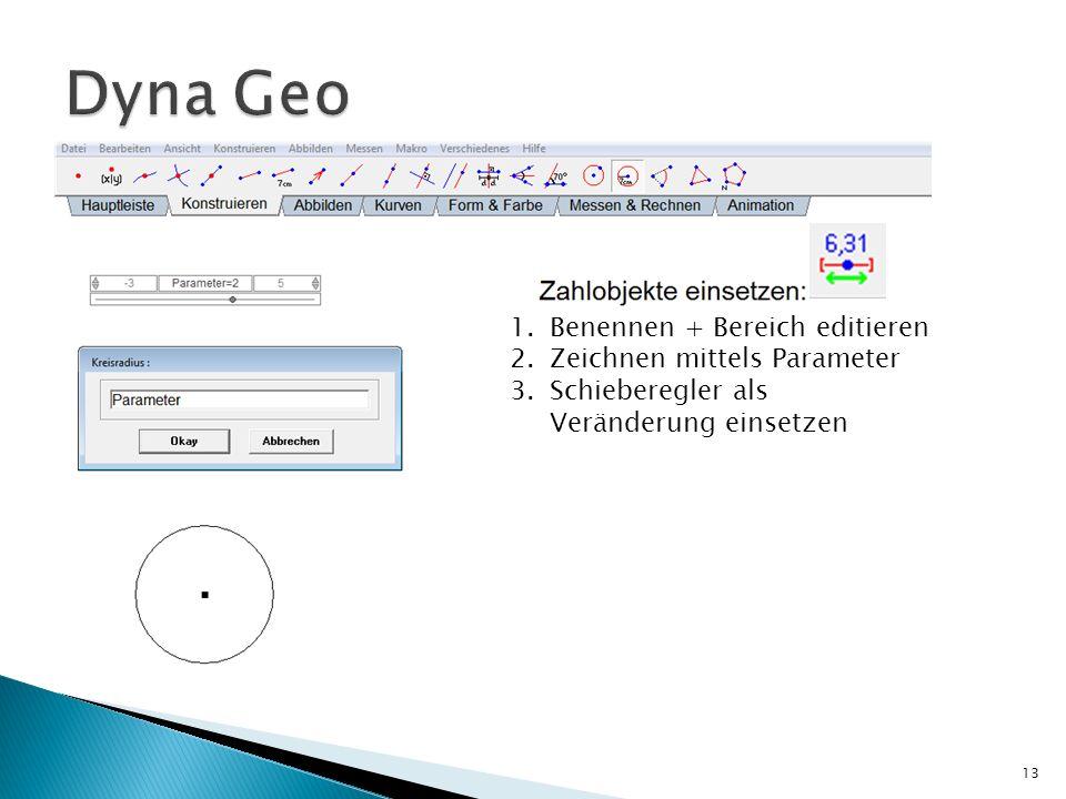 13 1.Benennen + Bereich editieren 2.Zeichnen mittels Parameter 3.Schieberegler als Veränderung einsetzen