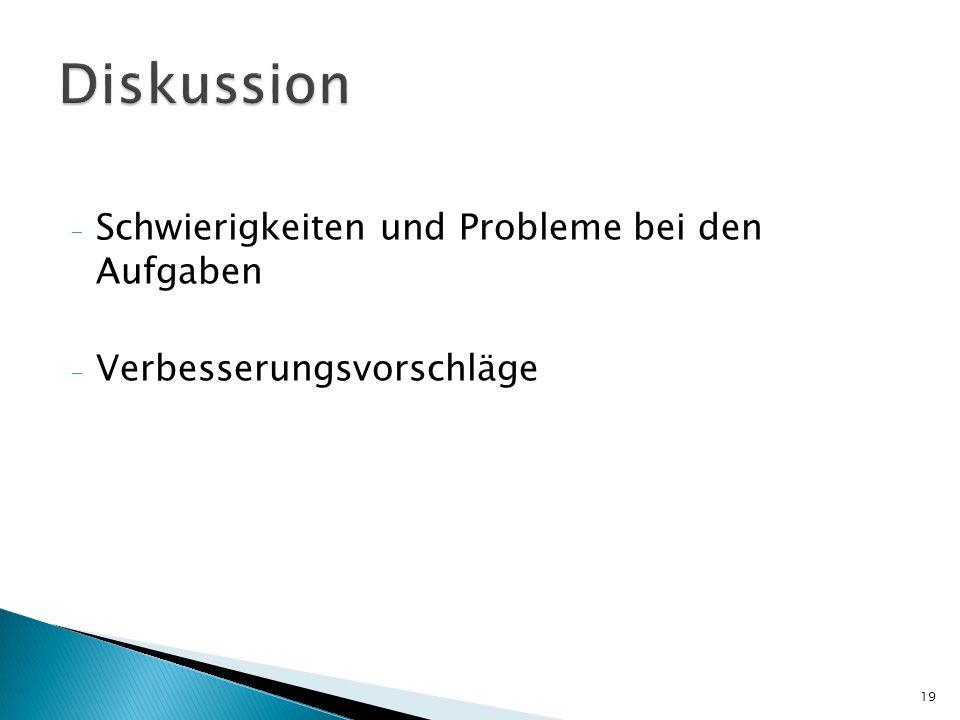 - Schwierigkeiten und Probleme bei den Aufgaben - Verbesserungsvorschläge 19